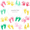 Colorful baby footprint and hands kids greeting card Royalty Free Stock Photo