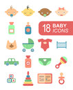 Colorful baby icons set vector illustration Stock Image