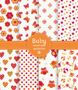 Colorful baby seamless patterns. Vector set. Stock Images
