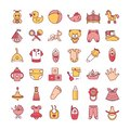 Colorful baby toys and clothes icon set isolated on a white background.