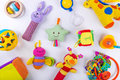 Colorful baby toys on white