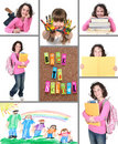 Colorful Back to School Collage Stock Images