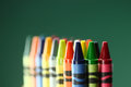 Colorful back to school crayons with extreme depth of field with copy space Royalty Free Stock Image
