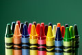 Colorful back to school crayons with extreme depth of field with copy space Stock Photography