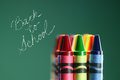 Colorful back to school crayons with extreme depth of field with copy space Stock Photos
