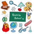 Colorful Back to school hand-drawn doodle set on white background