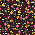Colorful background with bright flowers, hearts and stars in style pop art. Royalty Free Stock Photo