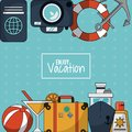 Colorful background of enjoy vacation with luggage and cruise ship and cocktail and sunblock Royalty Free Stock Photo