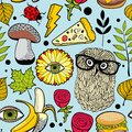 Colorful background with fast food and forest bird. Royalty Free Stock Photo