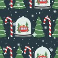 Colorful seamless pattern with snow globe, red bus with gifts, fir trees, candy canes. Decorative cute background. Happy New Year Royalty Free Stock Photo