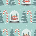 Colorful seamless pattern with snow globe, red bus, gifts, fir trees, candy canes. Decorative cute background. Happy New Year Royalty Free Stock Photo