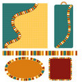 Colorful background, tag, label and trim set Stock Image