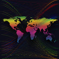 Colorful background with world map, abstract waves, lines. Bright color curves, swirl. Motion design. Colourful vector