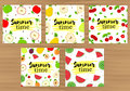 Colorful backgrounds set with apricot, plum, cherry, watermelon,