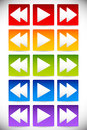 Colorful Backward, Play and Forward - Fastforward Buttons. Multi Royalty Free Stock Photo
