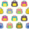 Colorful bags. Seamless pattern. Pixel background.