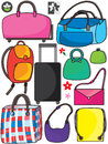 Colorful bags set eps illustration of different type of on white background additional design logos and flowers element this file Stock Image