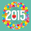Colorful Balloon Bunch 2015 New Year Card Royalty Free Stock Photo