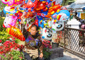 Colorful balloon chieng mai thailand january unidentified woman sale a in the flower exhibition at chieng mai thailand on january Royalty Free Stock Photography