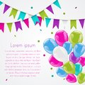 Colorful balloons bunch and bunting flag garland Royalty Free Stock Photo