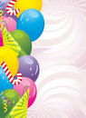 Colorful balloons and festive tinsel. Background Stock Photo