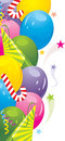 Colorful balloons and festive tinsel. Background