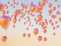 Colorful balloons flying up to the sky small Royalty Free Stock Photos
