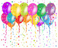 Colorful balloons greeting with confetti and stars background Royalty Free Stock Photo