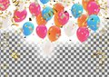 Colorful balloons Happy Birthday Holiday frame or background wi