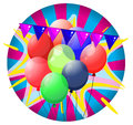 Colorful balloons inside the big circle illustration of on a white background Stock Photos