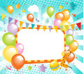 Colorful balloons label vector with celebration background Royalty Free Stock Image