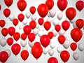 Colorful Balloons Red Backgrou...