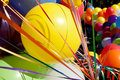 Colorful balloons and ribbons at sunny outdoor festival fill fra an the frame Royalty Free Stock Images