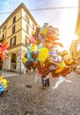 Colorful balloons on the street. Royalty Free Stock Photo