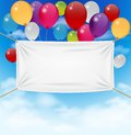 Colorful balloons with textile banner Royalty Free Stock Photo