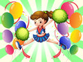 Colorful balloons with a young cheerer illustration of the on white background Stock Photo