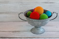 Colorful balls in metall bowl Royalty Free Stock Photo