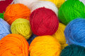 Colorful balls of wool yarn Royalty Free Stock Photo