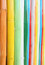 Colorful of bamboo wall texture Stock Photo