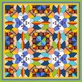 Colorful bandana print with kaleidoscope. Royalty Free Stock Photo