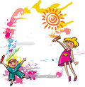 Colorful banner children drawing Stock Photography