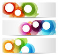 Colorful banners circles three abstract for web or print Stock Photo