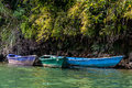 Colorful barques on phewa lake in pokara nepal Stock Images