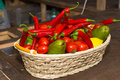 Colorful basket of fresh fruit and vegetables Royalty Free Stock Photo