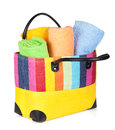 Colorful beach bag with towels Royalty Free Stock Photo