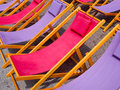 Colorful beach chairs background classic wooden in purple and pink Stock Photography