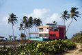 Colorful beach house hotel corn island nicaragua Royalty Free Stock Image