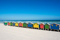 Colorful beach houses at cape town bathhouses muizenberg south africa standing in a row Stock Photo