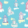 Colorful Beach Hut Vector seamless pattern Royalty Free Stock Photo