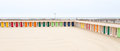 Colorful beach huts at le touquet paris plage near lille in france Royalty Free Stock Photography